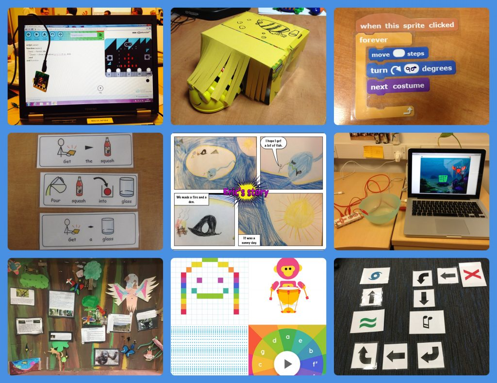 Collagae of computing images e.g. Bee-Bot, Scartch, comic strips