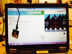 BBC microbit shown with code